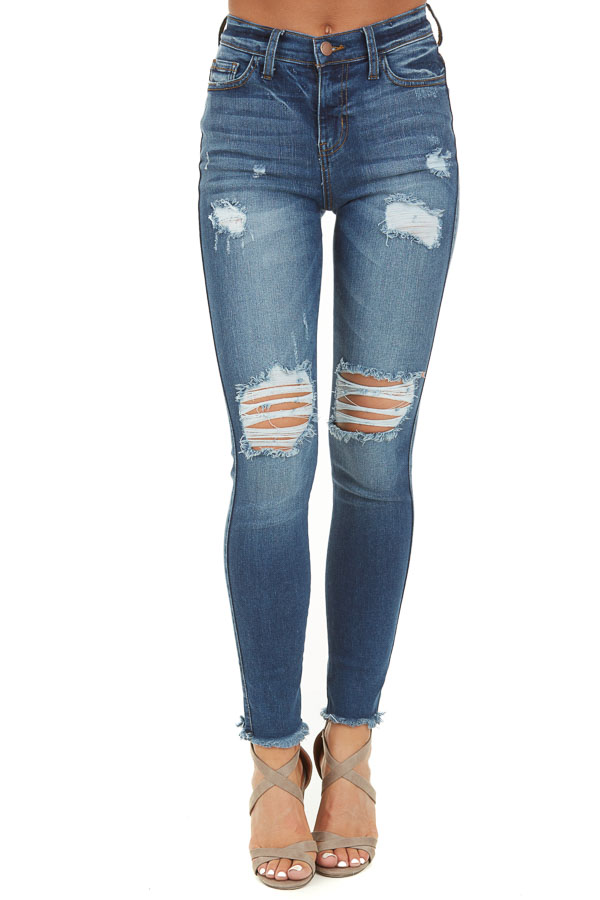 Medium Wash Denim Jeans with Distressed Details front view