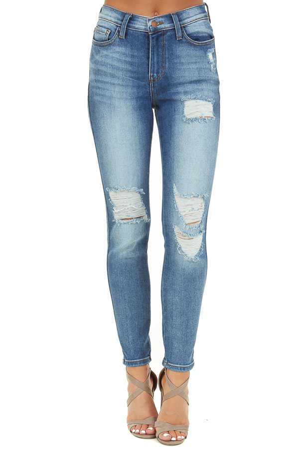 Medium Wash High Waisted Skinny Jeans with Distressed Detail front view