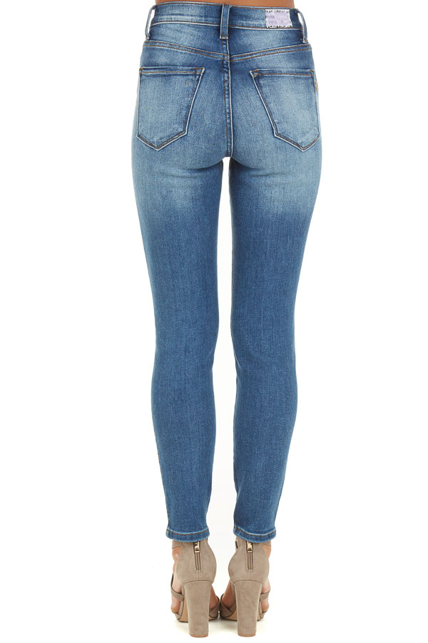 Medium Wash High Waisted Skinny Jeans with Distressed Detail back view