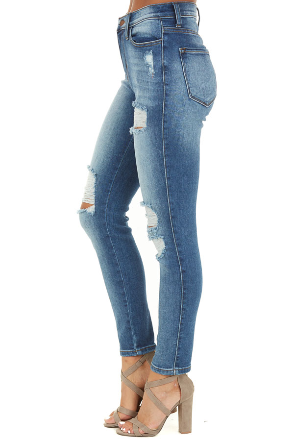 Medium Wash High Waisted Skinny Jeans with Distressed Detail side view
