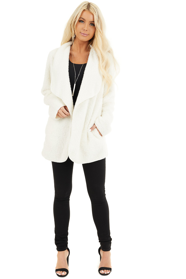 Off White Soft Faux Fur Open Front Cardigan with Pockets front full body