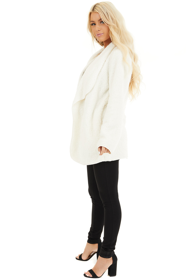 Off White Soft Faux Fur Open Front Cardigan with Pockets side full body