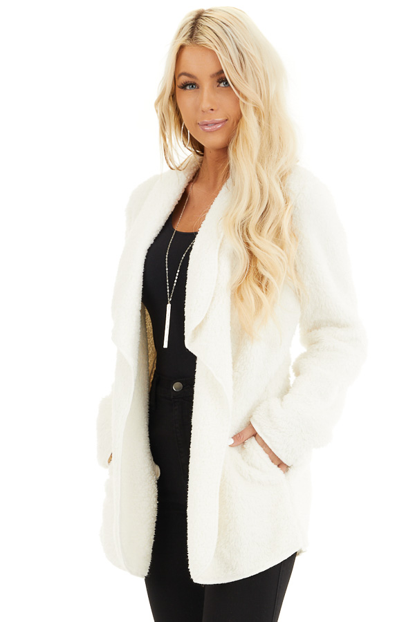 Off White Soft Faux Fur Open Front Cardigan with Pockets front close up