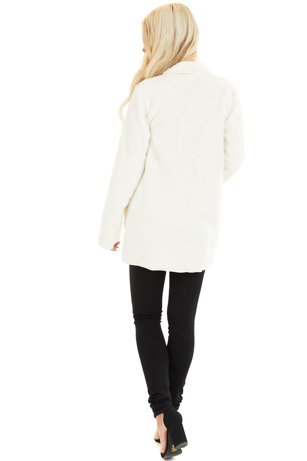 Off White Soft Faux Fur Open Front Cardigan with Pockets back full body