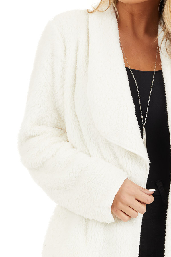 Off White Soft Faux Fur Open Front Cardigan with Pockets detail