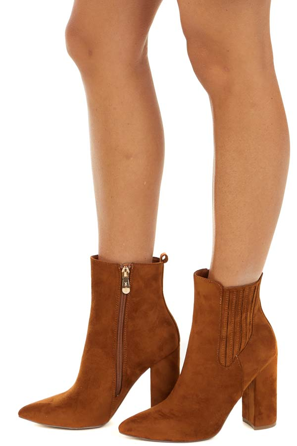 Cognac Faux Suede Chunky Heel Pointed Toe Booties side view
