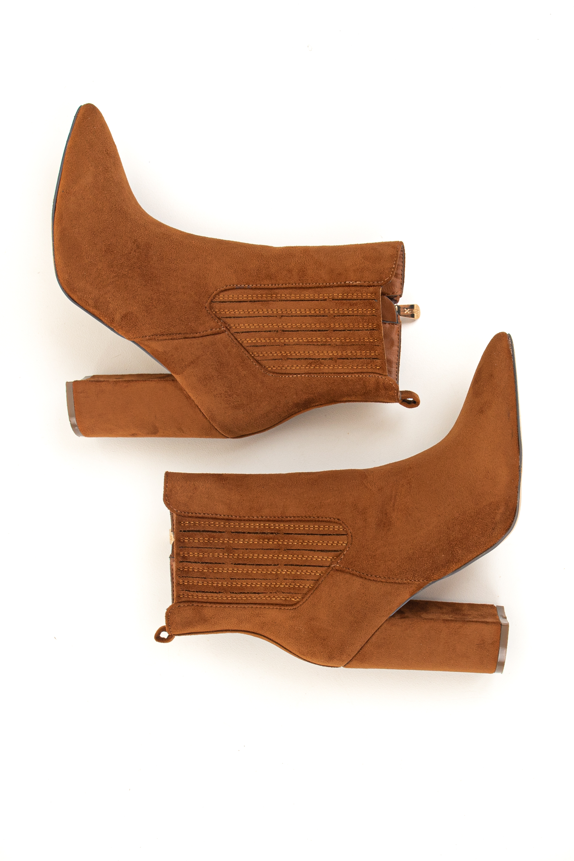 Cognac Faux Suede Chunky Heel Pointed Toe Booties