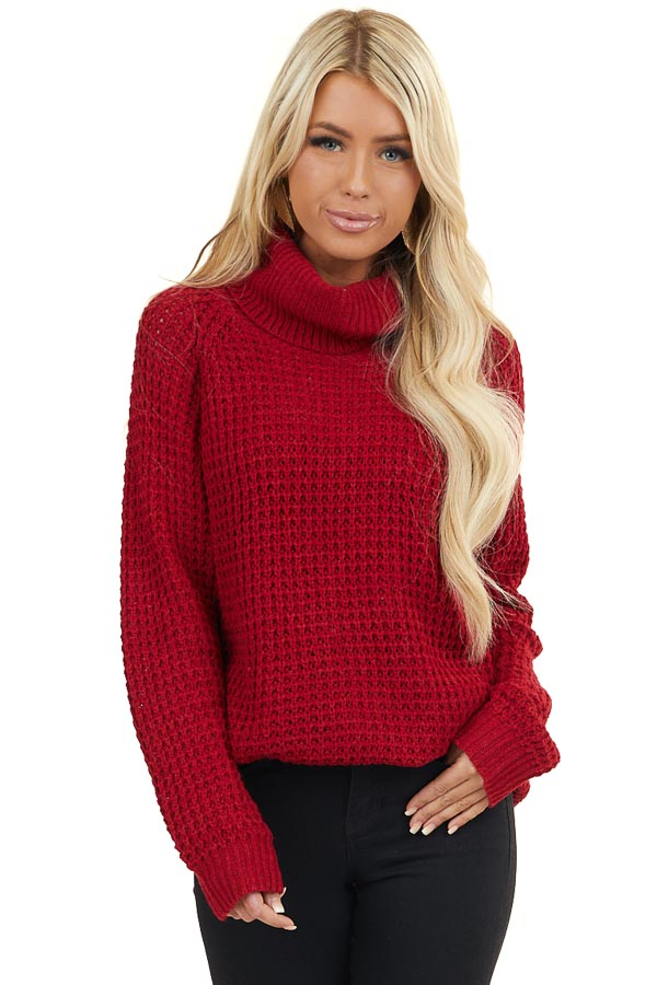 Cranberry Long Sleeve Knit Sweater with Cowl Neck