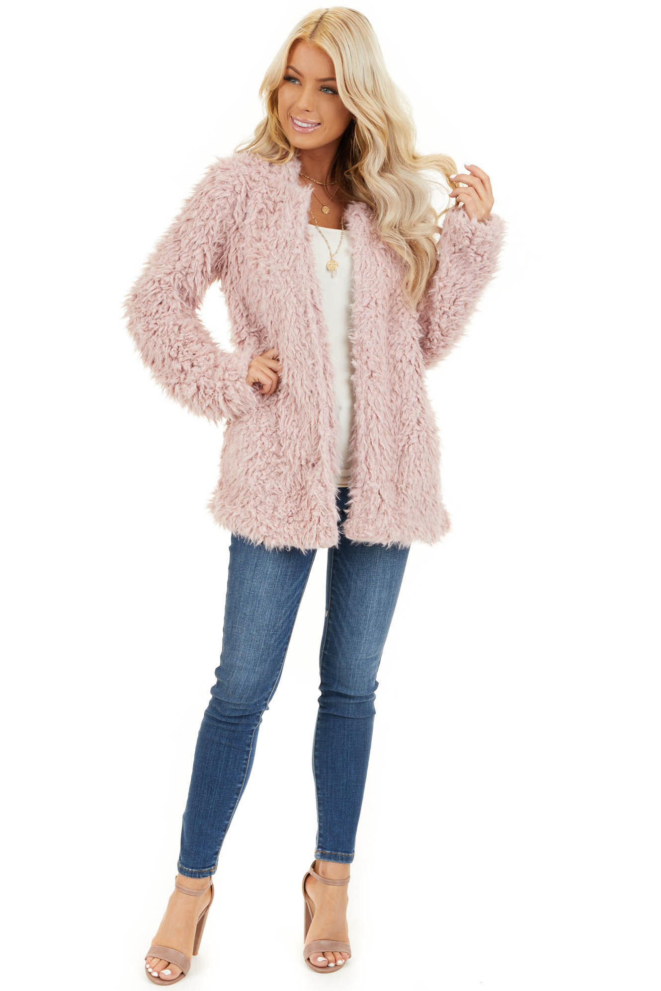 Blush Faux Fur Long Sleeve Cardigan with Side Pockets front full body