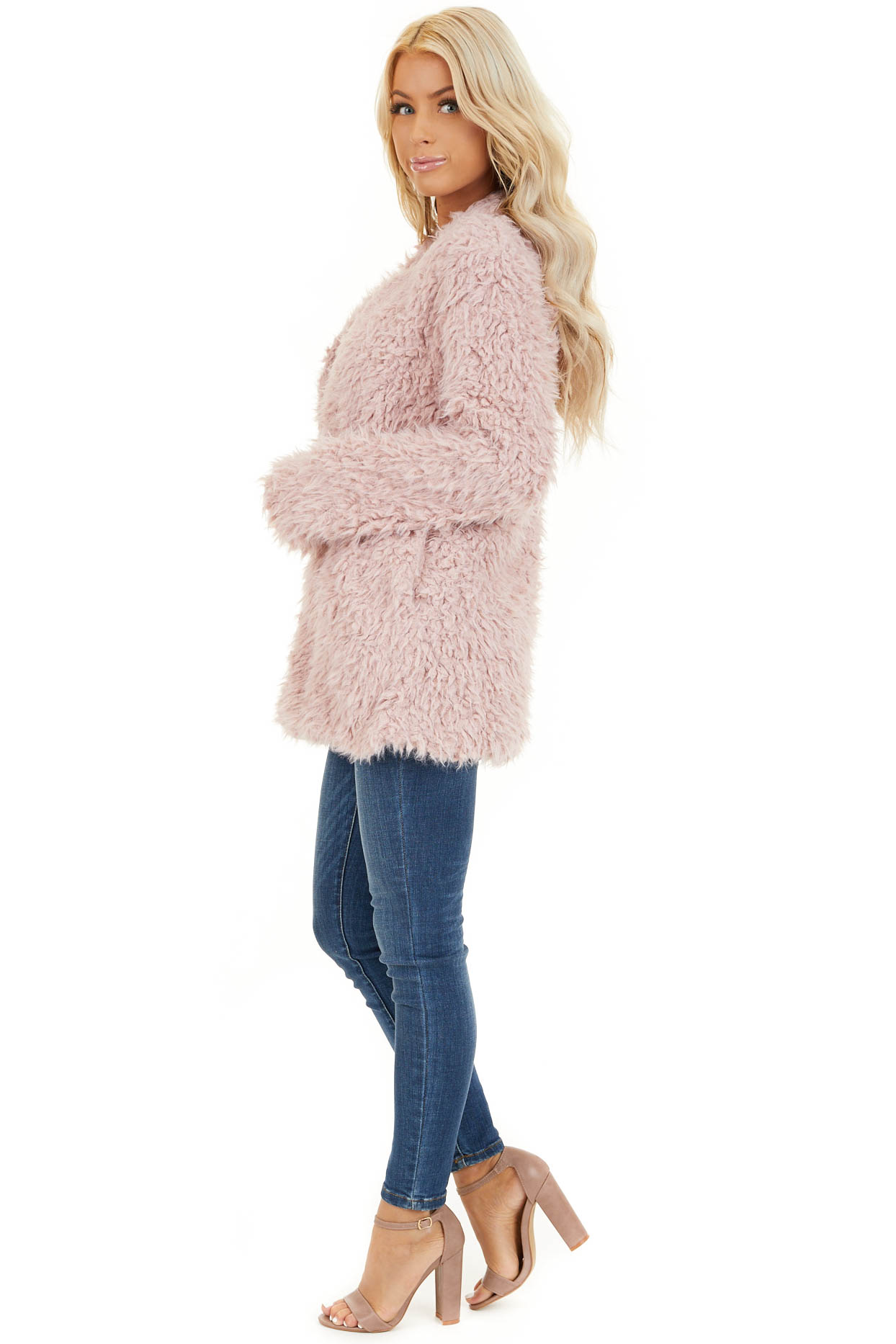 Blush Faux Fur Long Sleeve Cardigan with Side Pockets side full body