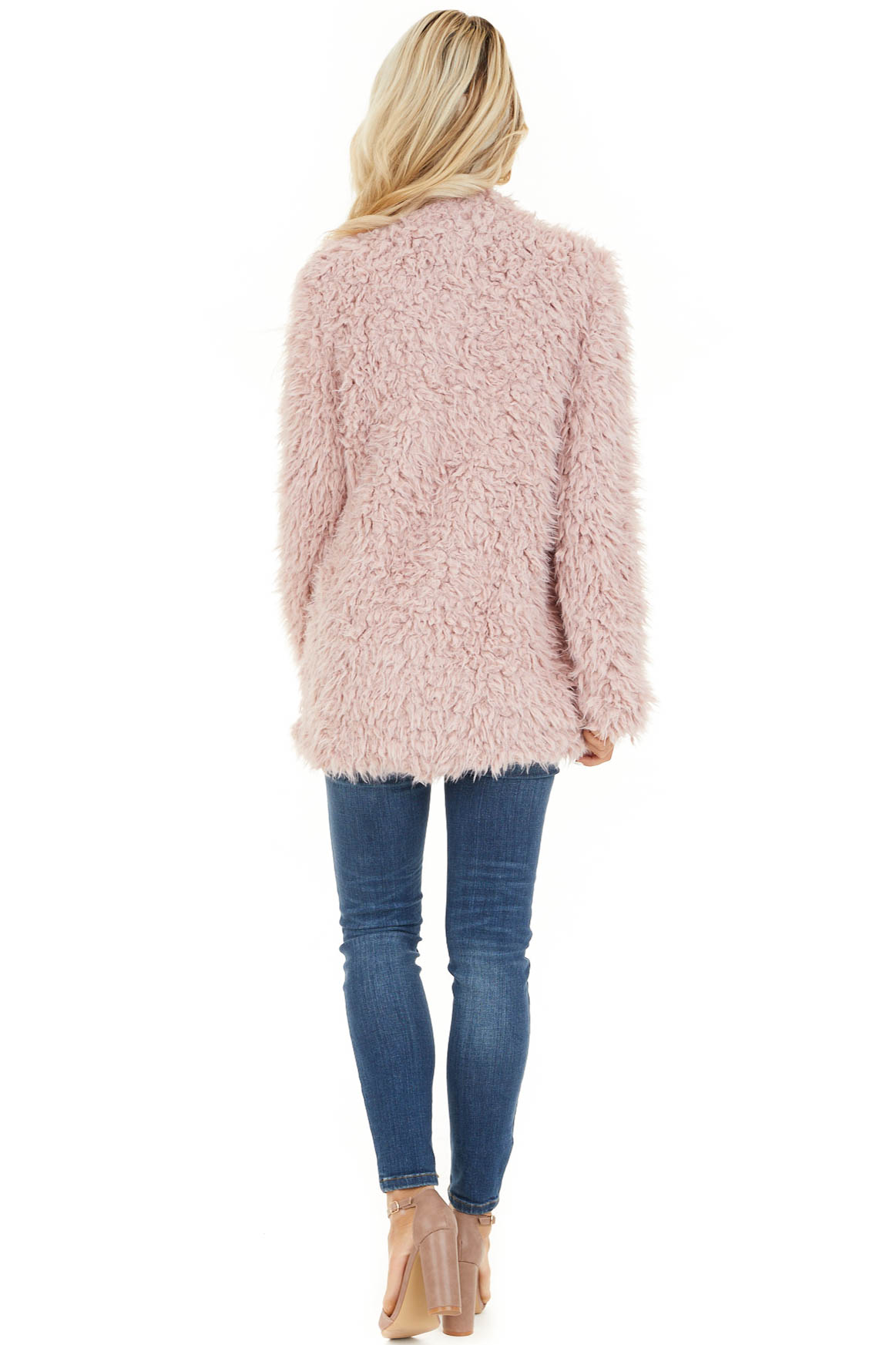 Blush Faux Fur Long Sleeve Cardigan with Side Pockets back full body