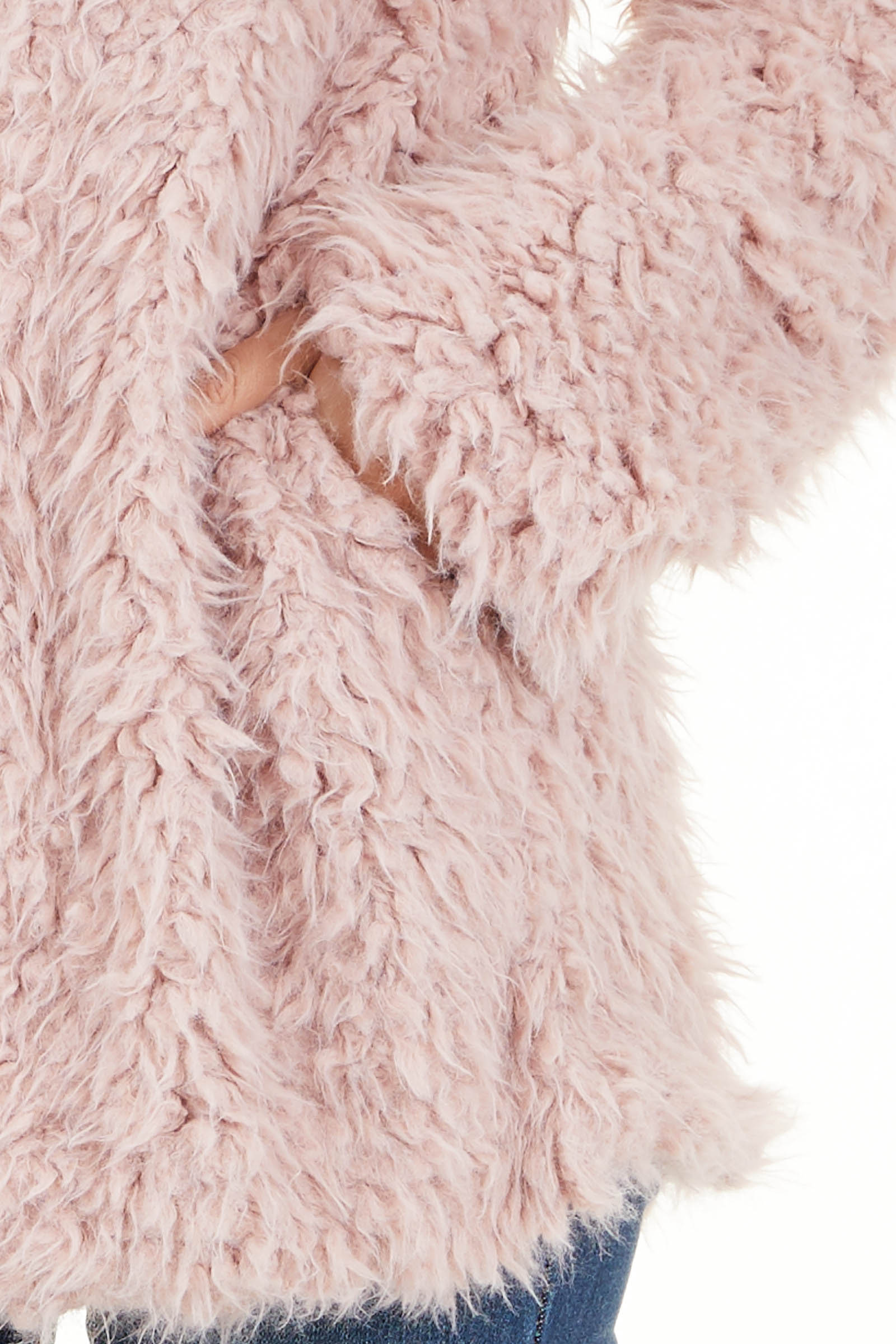 Blush Faux Fur Long Sleeve Cardigan with Side Pockets detail