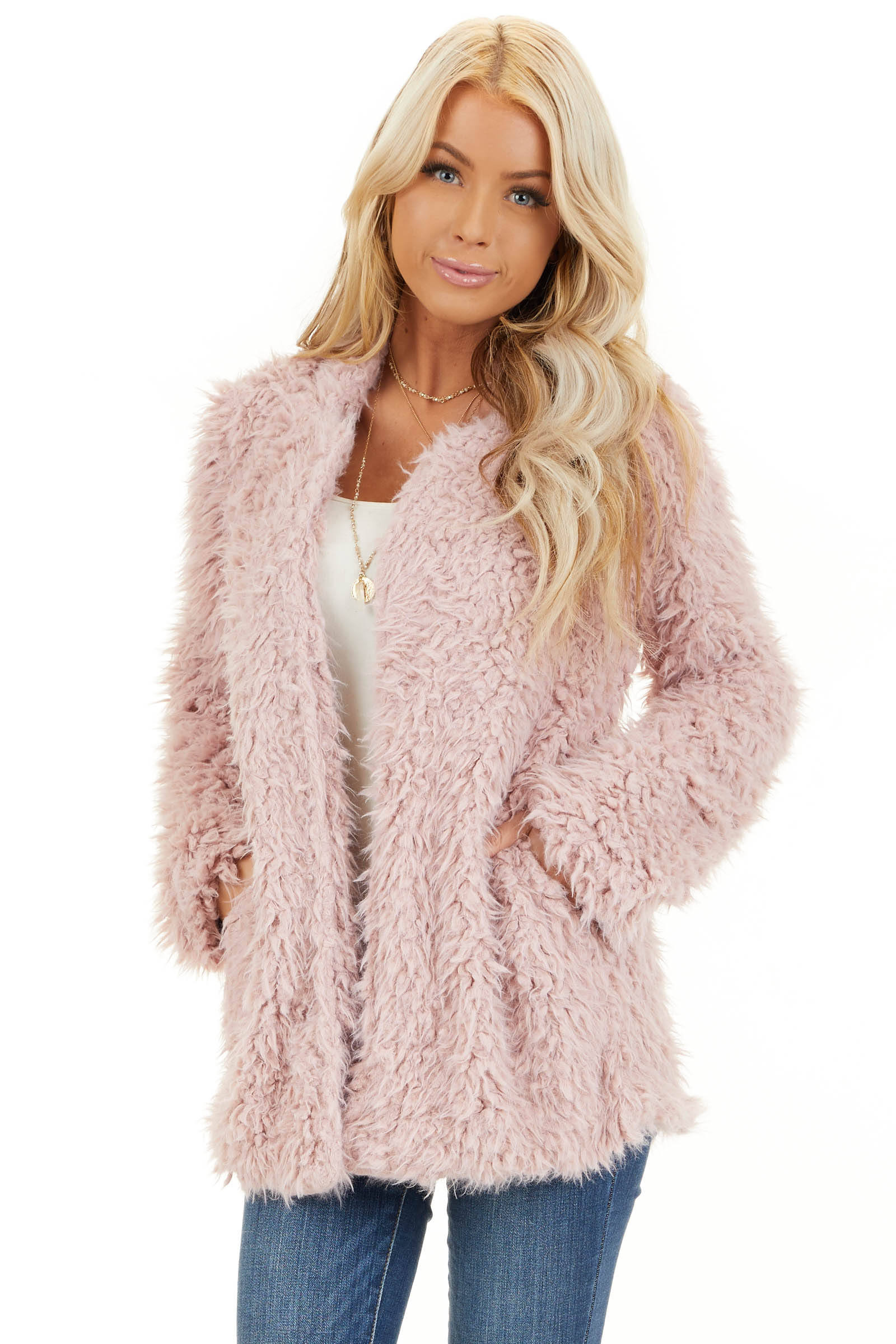 Blush Faux Fur Long Sleeve Cardigan with Side Pockets front close up