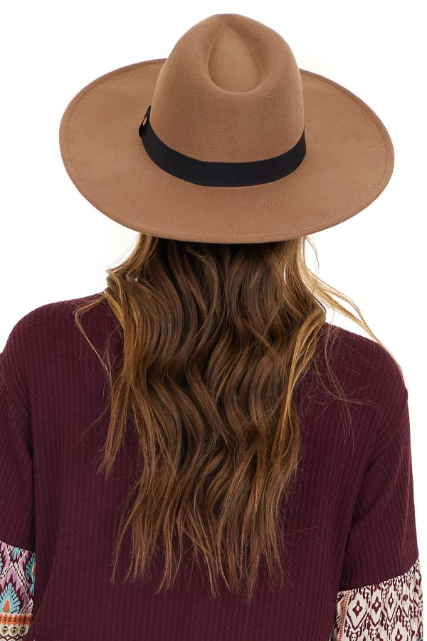 Khaki Felt Wide Brimmed Hat with Black Ribbon Detail back view