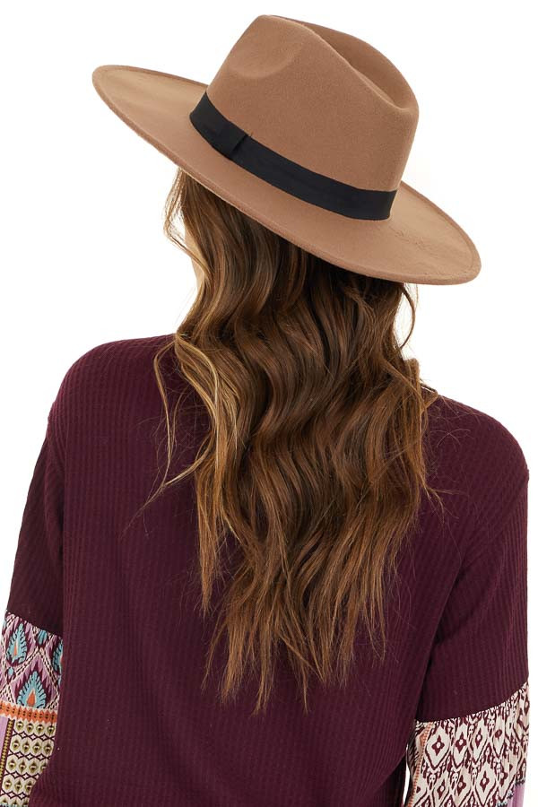 Khaki Felt Wide Brimmed Hat with Black Ribbon Detail back back side view