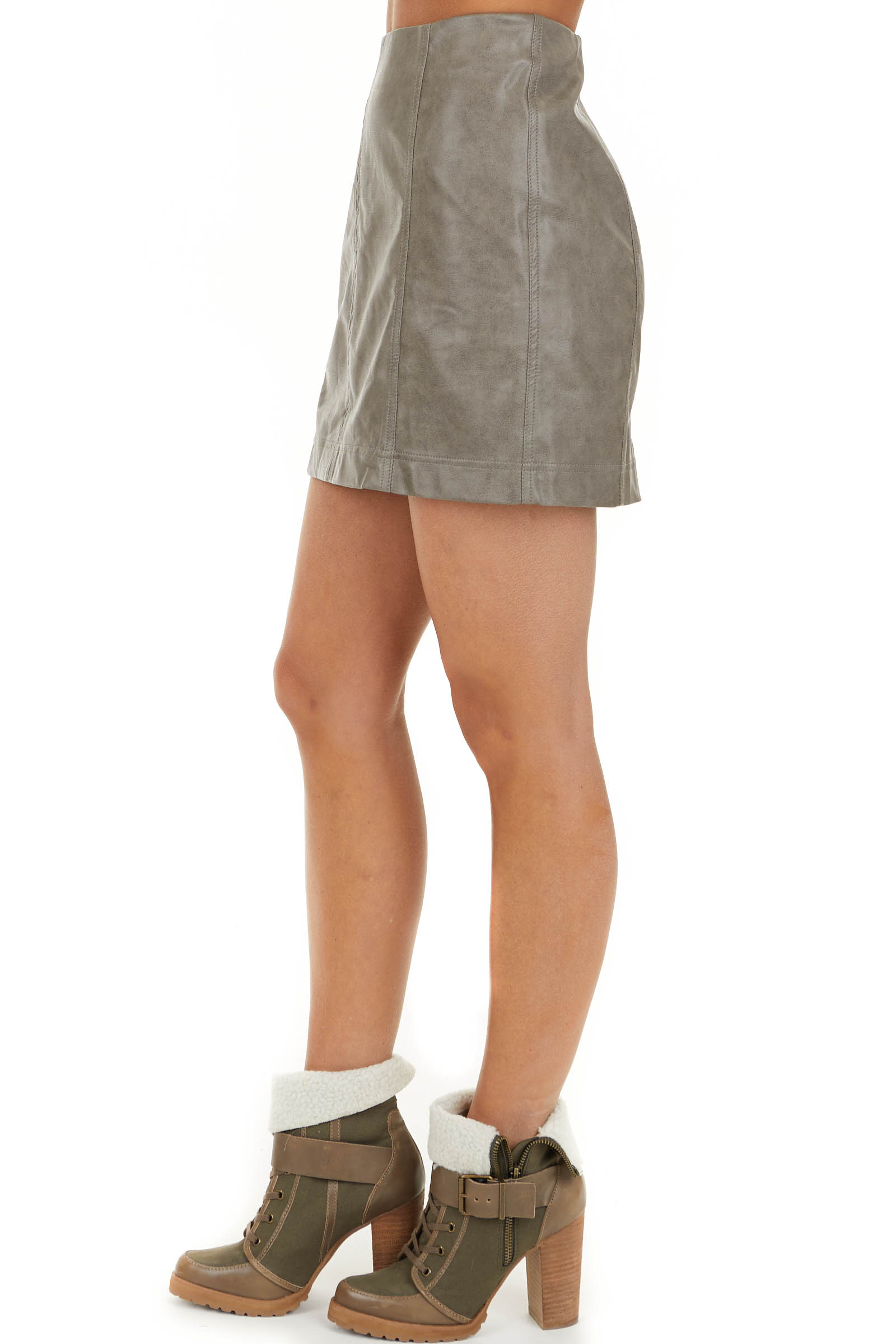 Taupe Faux Leather Fitted Mini Skirt with Zip Up Closure side view