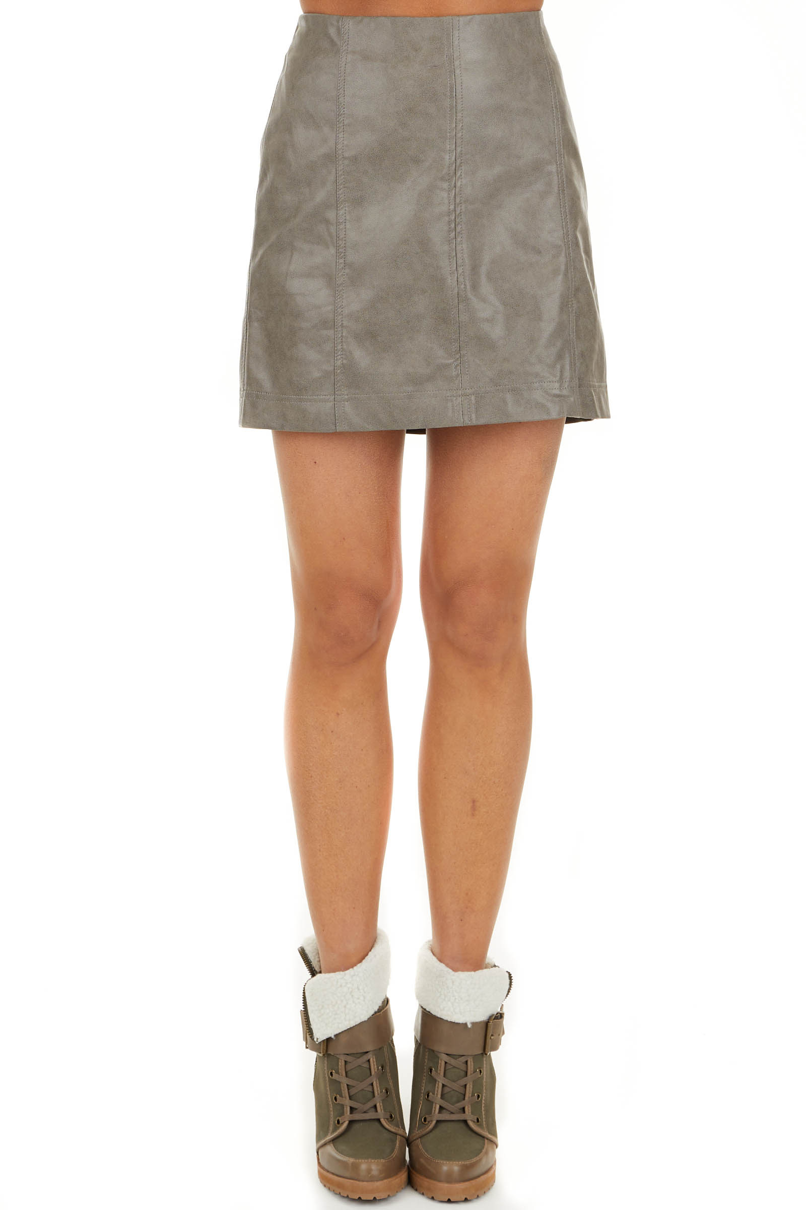 Taupe Faux Leather Fitted Mini Skirt with Zip Up Closure front view