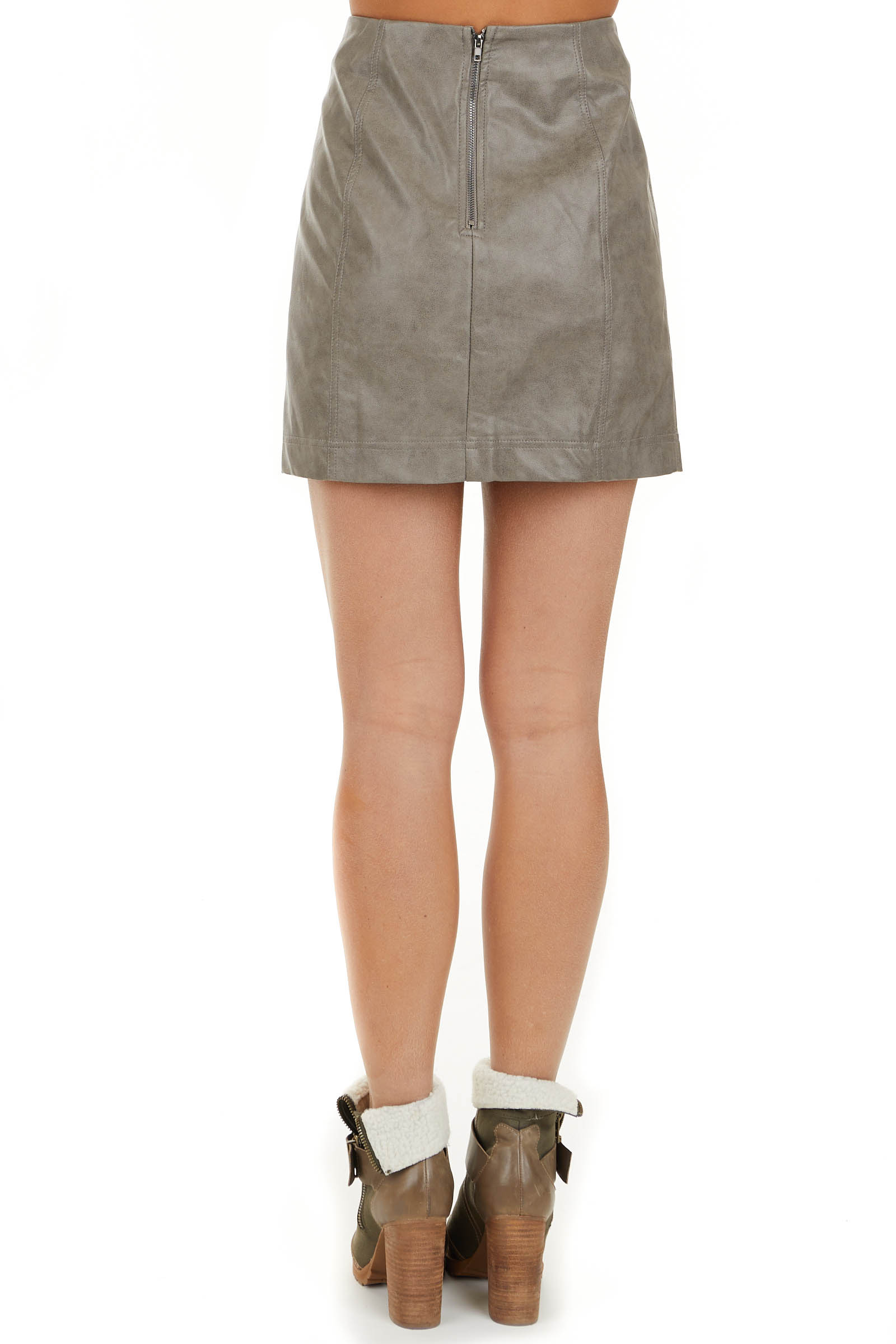 Taupe Faux Leather Fitted Mini Skirt with Zip Up Closure back view