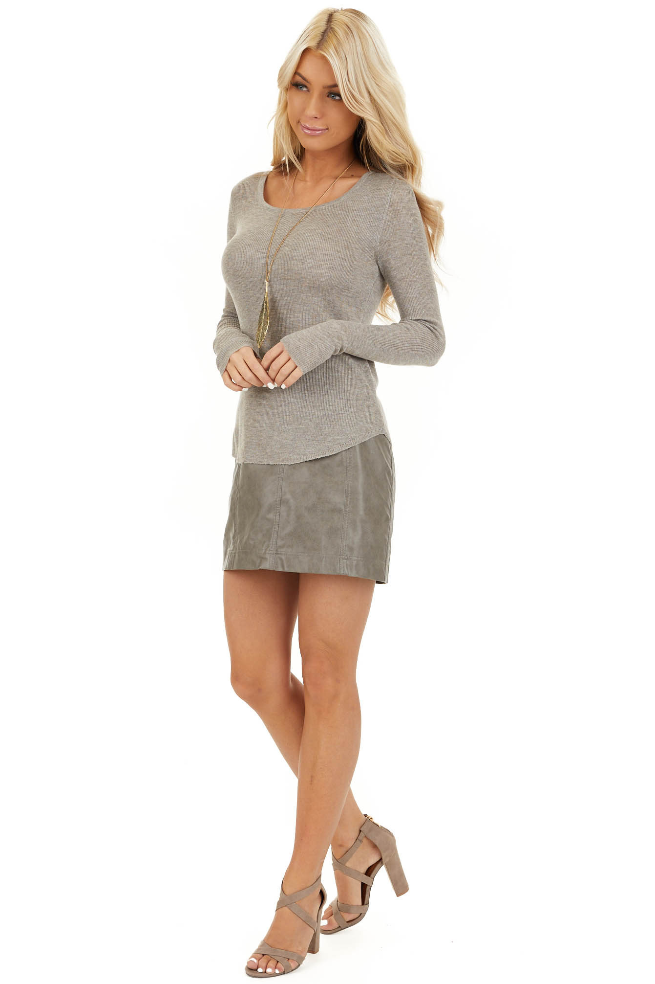 Taupe Faux Leather Fitted Mini Skirt with Zip Up Closure side full body