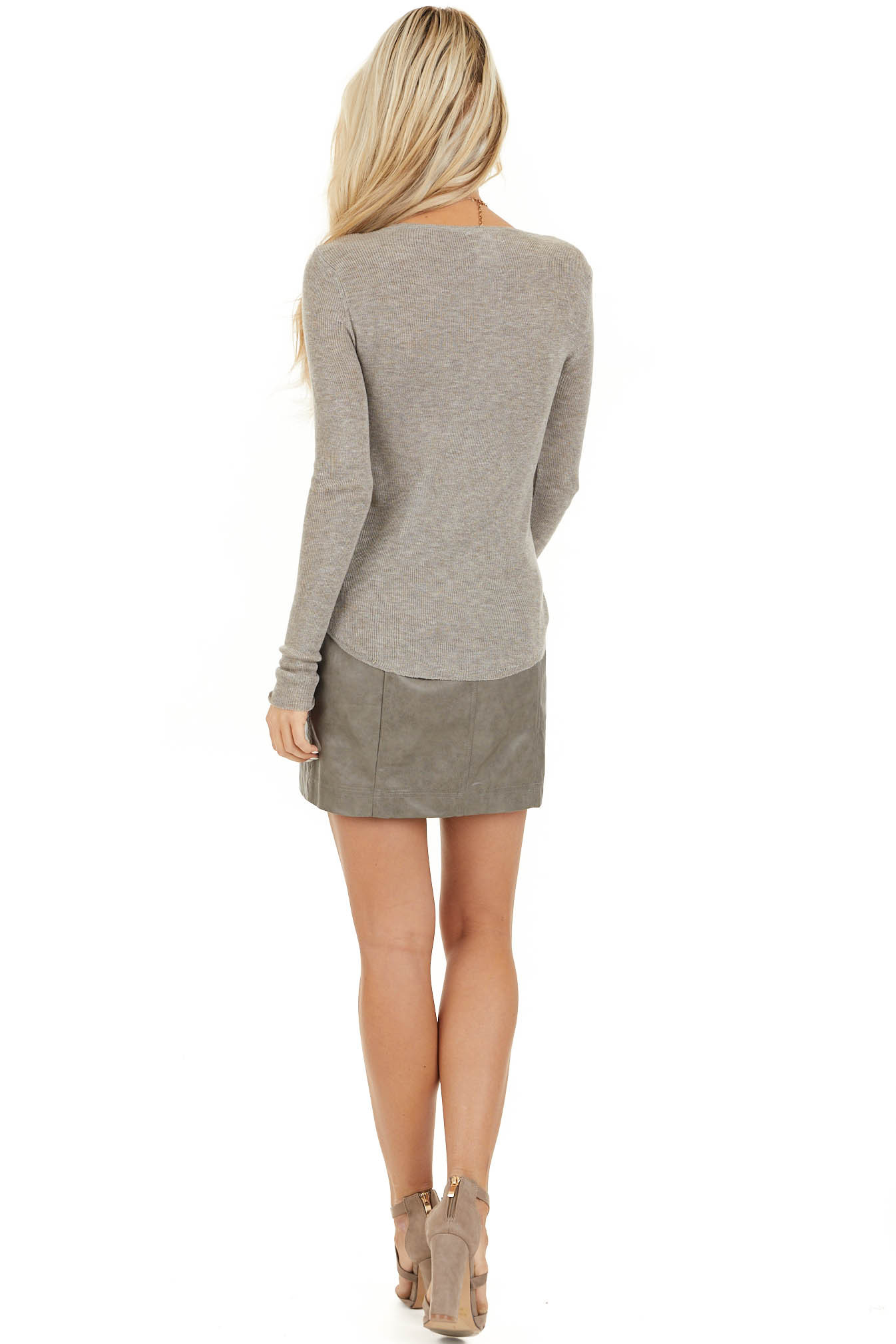 Taupe Faux Leather Fitted Mini Skirt with Zip Up Closure back full body