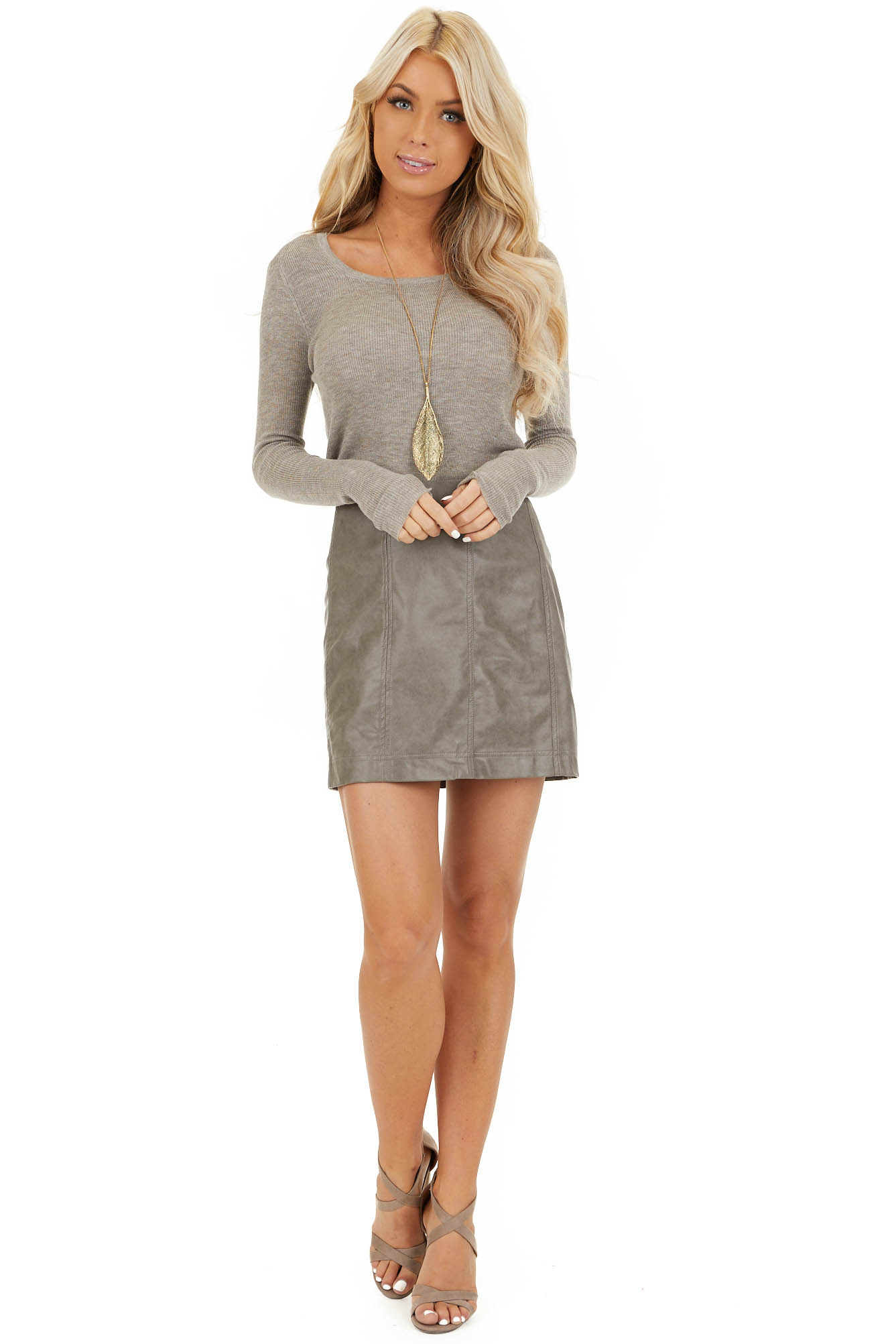 Taupe Faux Leather Fitted Mini Skirt with Zip Up Closure front full body