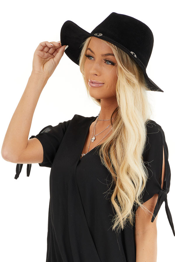 Black Fedora Hat with Braided Belt and Silver Metal Details