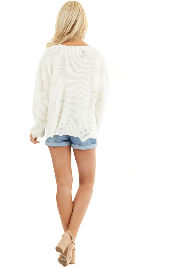 Ivory Long Sleeve Oversized Sweater with Distressed Details back full body