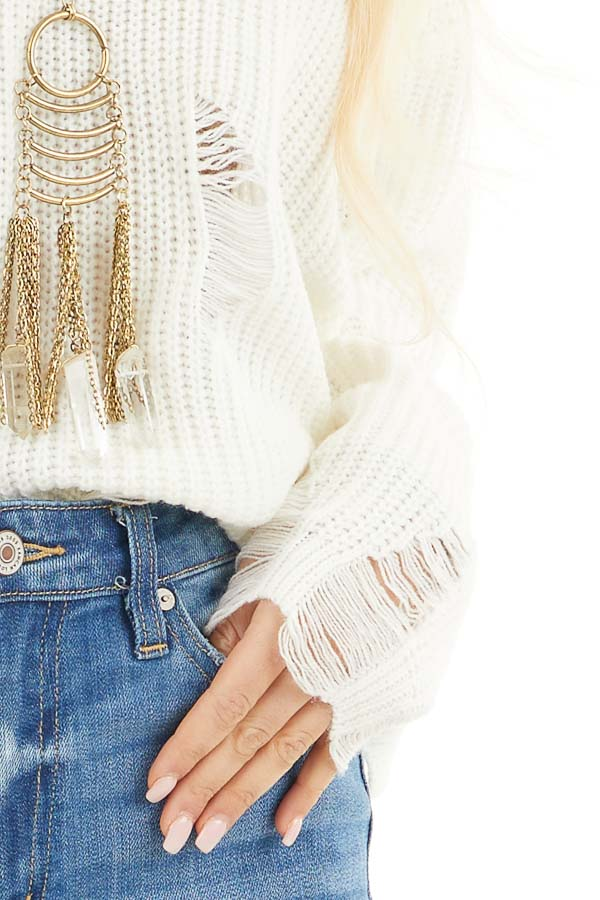 Ivory Long Sleeve Oversized Sweater with Distressed Details detail