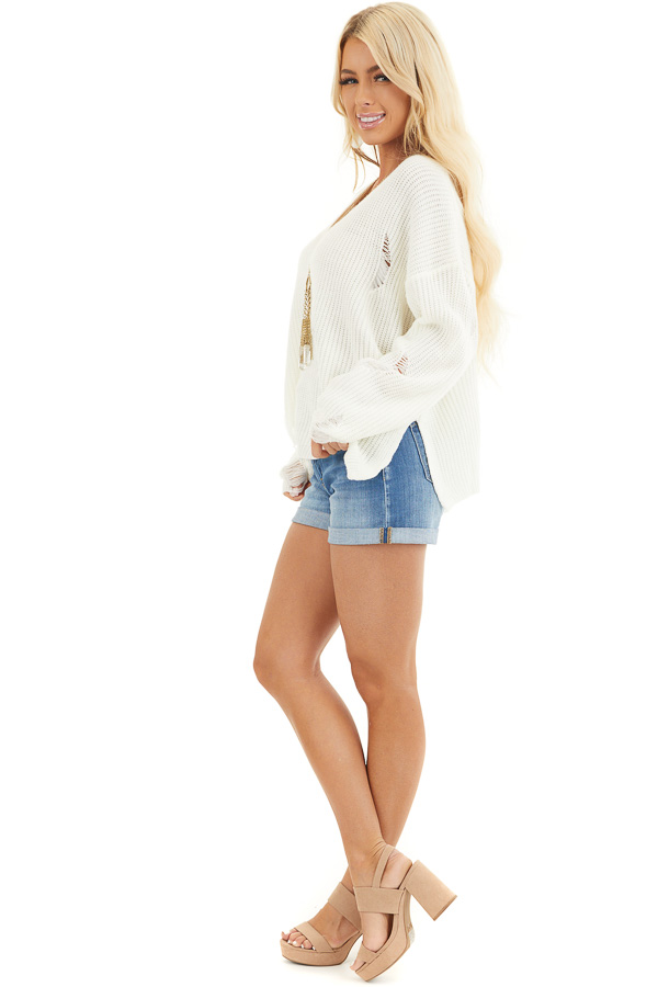 Ivory Long Sleeve Oversized Sweater with Distressed Details side full body
