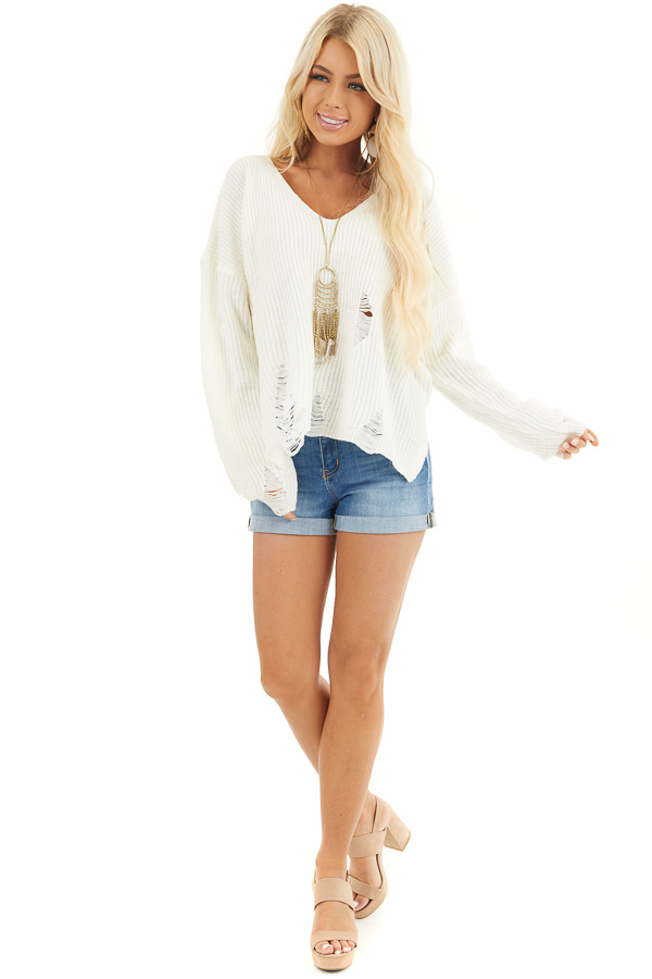Ivory Long Sleeve Oversized Sweater with Distressed Details front full body