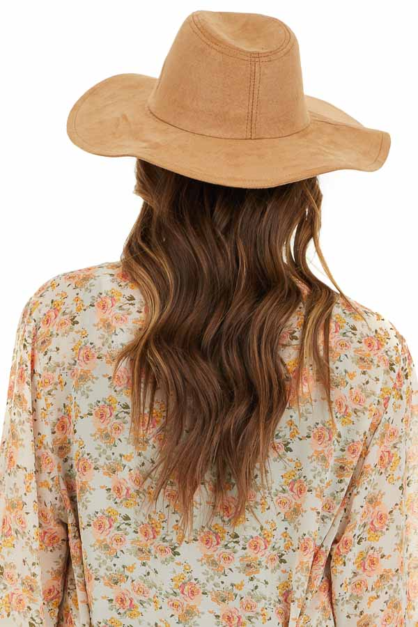 Camel Western Style Faux Suede Hat with Floppy Brim back view
