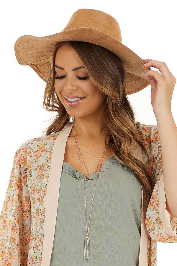 Camel Western Style Faux Suede Hat with Floppy Brim front view