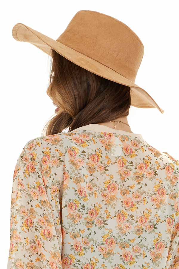 Camel Western Style Faux Suede Hat with Floppy Brim side view