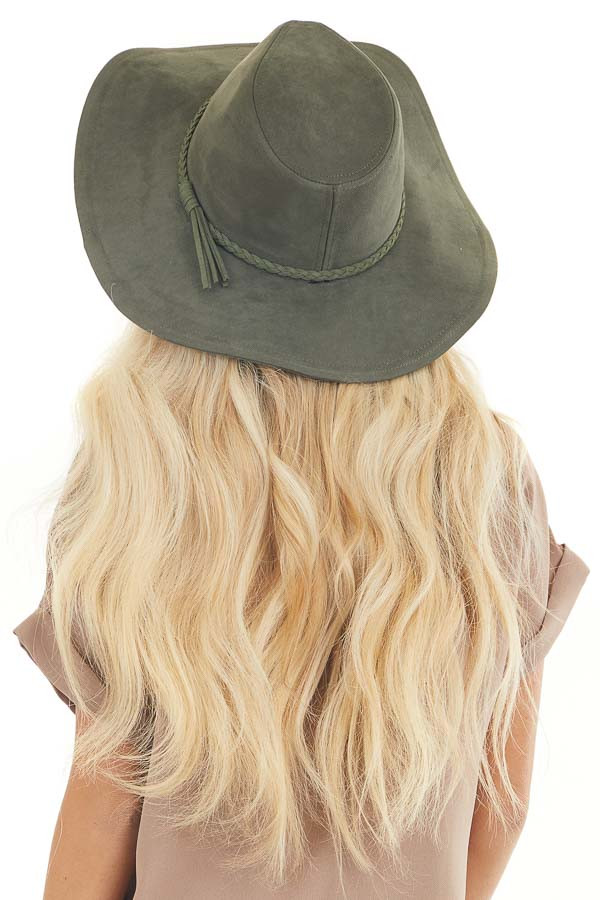 Olive Faux Suede Wide Brim Hat with Braided Detail back view