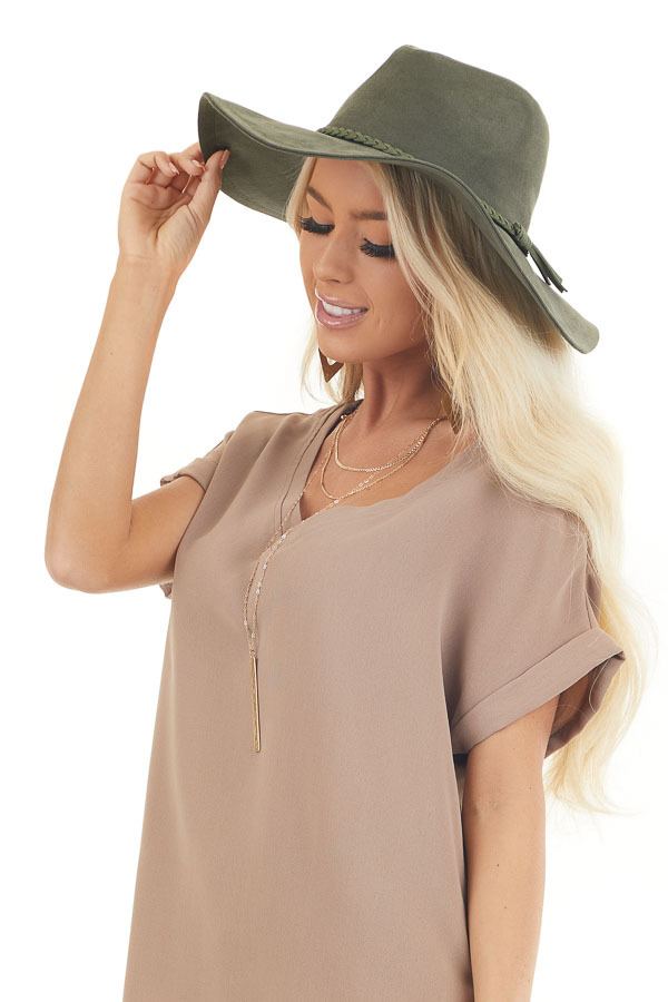 Olive Faux Suede Wide Brim Hat with Braided Detail side view
