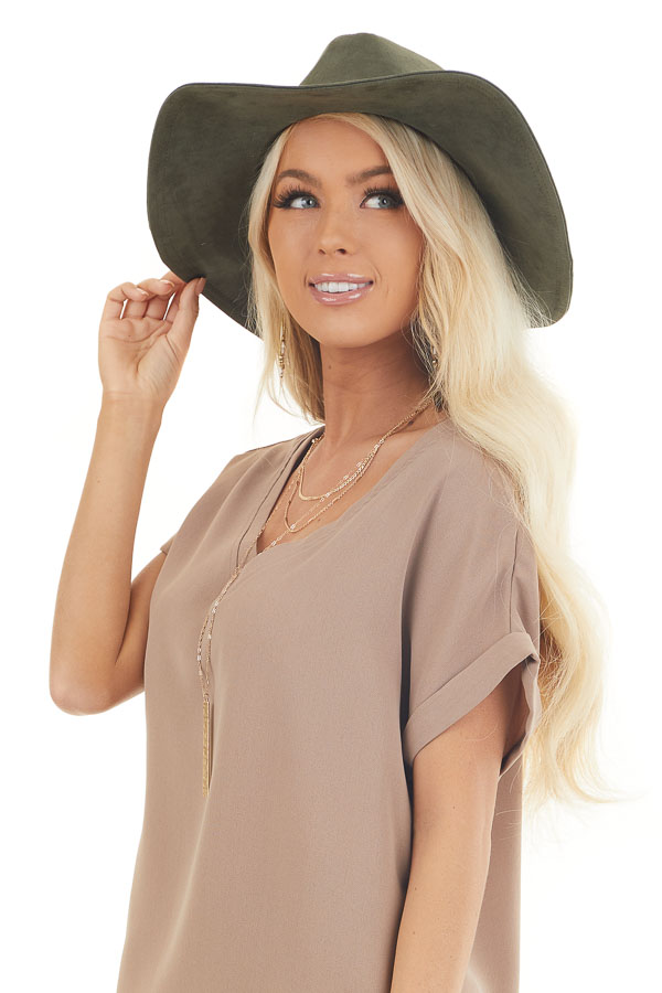 Olive Faux Suede Wide Brim Hat with Braided Detail front view