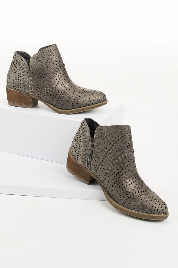 Gun Metal Grey Perforated Booties with Stacked Heel