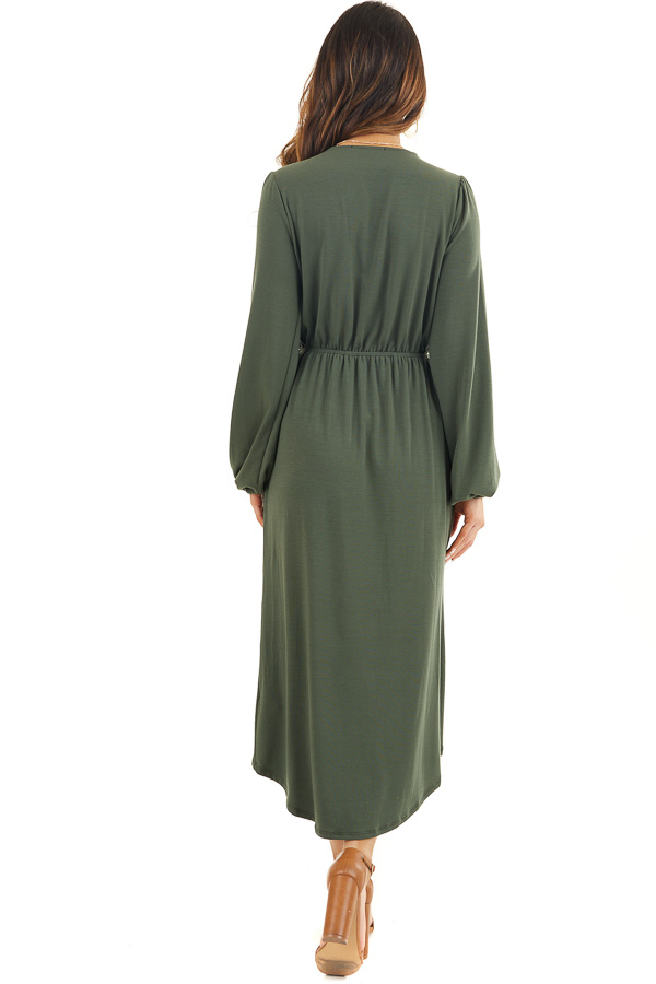 Olive Green V Neck Surplice Midi Dress with Long Sleeves back full body