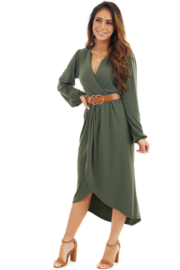 Olive Green V Neck Surplice Midi Dress with Long Sleeves front full body