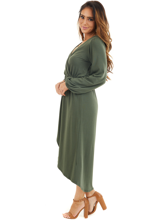 Olive Green V Neck Surplice Midi Dress with Long Sleeves side full body