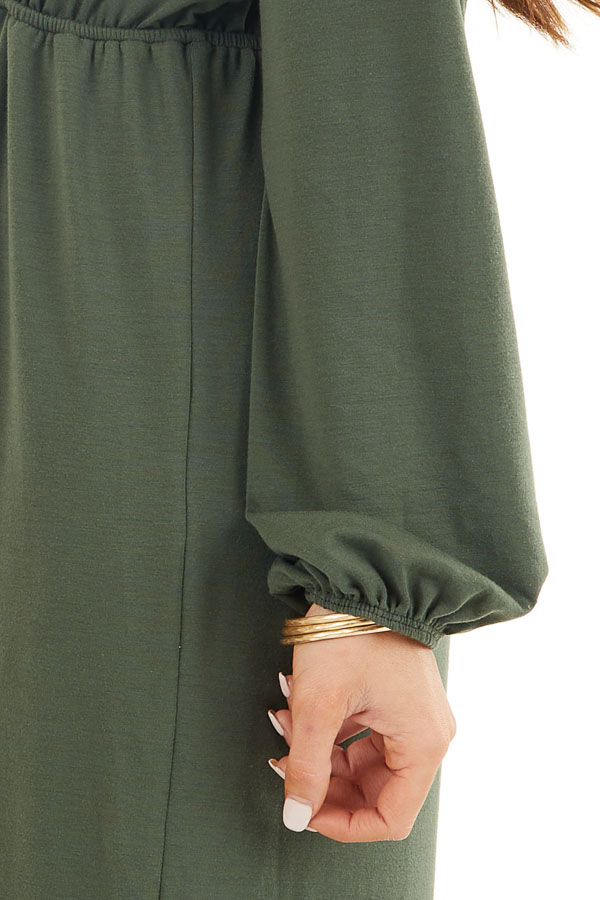 Olive Green V Neck Surplice Midi Dress with Long Sleeves detail