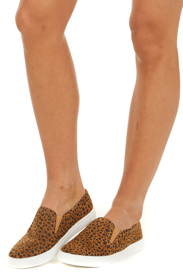 Tawny Cheetah Print Easy Slip On Sneakers side view