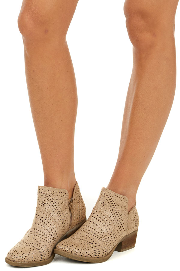 Glittered Tan Perforated Booties with Stacked Heel side view