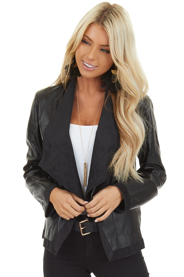 Raven Black Long Sleeve Open Front Faux Leather Jacket front close up