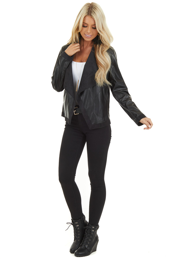 Raven Black Long Sleeve Open Front Faux Leather Jacket front full body