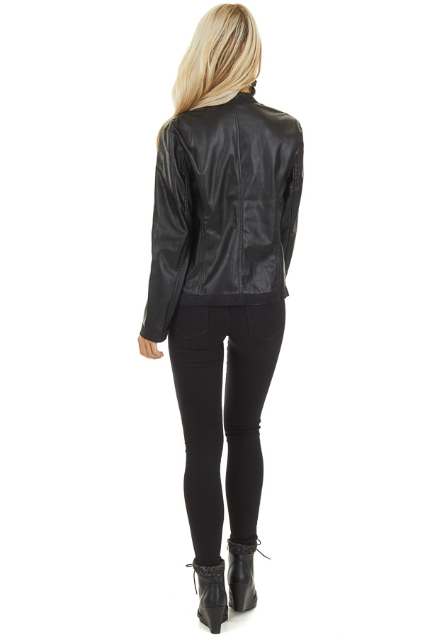Raven Black Long Sleeve Open Front Faux Leather Jacket back full body