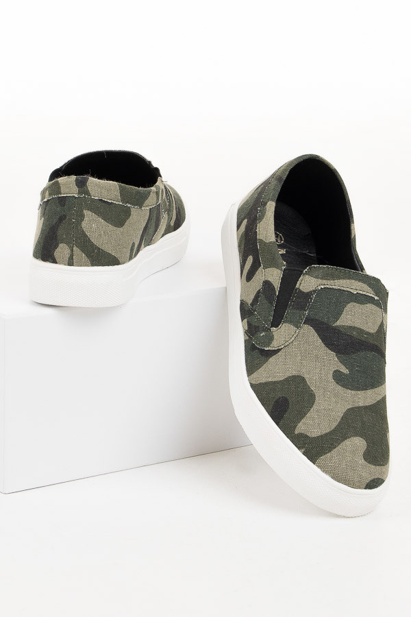 Forest Green Camo Easy Slip On Sneakers