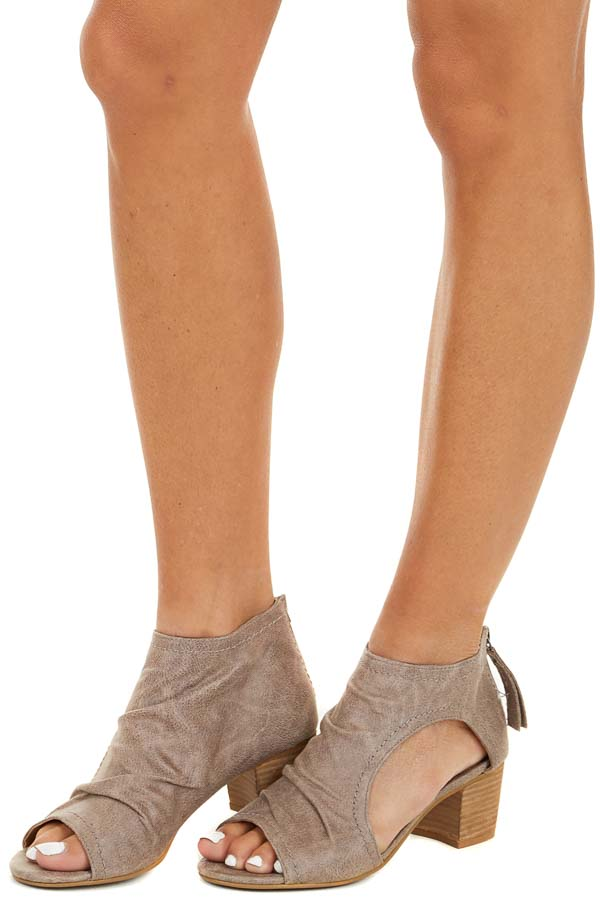 Taupe Open Toe Chunky Heel Booties with Side Cutout Detail side view