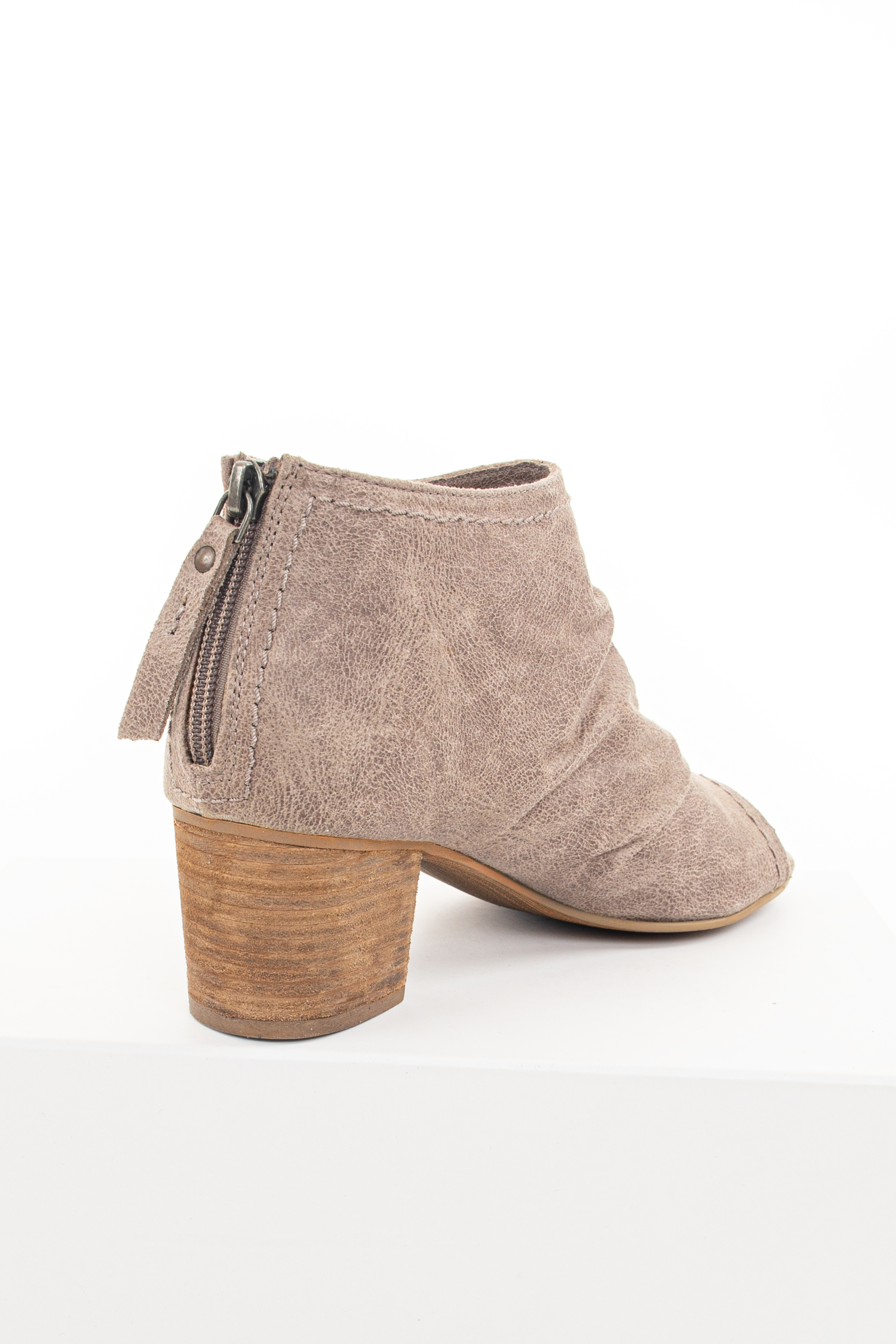 Taupe Open Toe Chunky Heel Booties with Side Cutout Detail