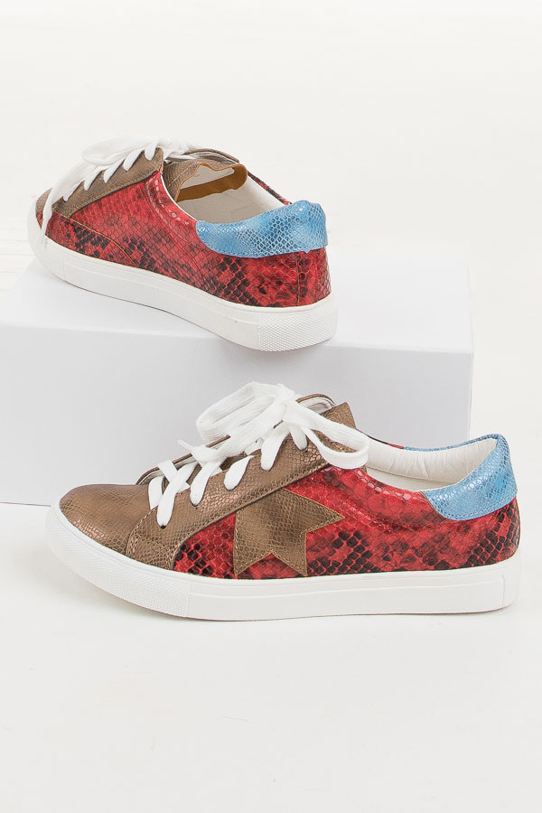 Lipstick Red Multicolor Snakeskin Lace Up Sneakers